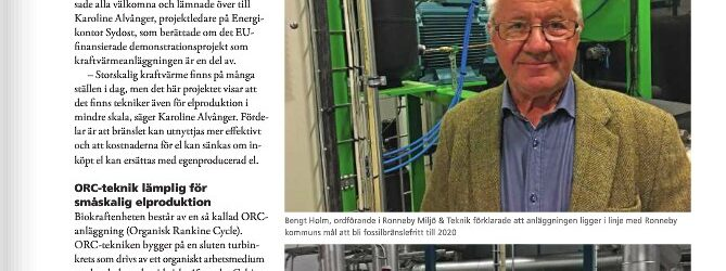 The magazine Bioenergi writes about ORC at heating plant